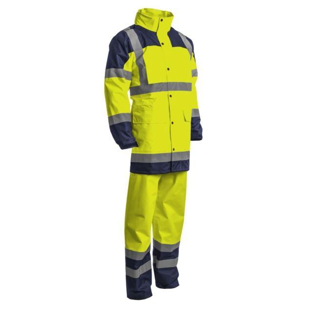 COVERGUARD Ensemble de pluie veste + pantalon haute visibilité Hydra