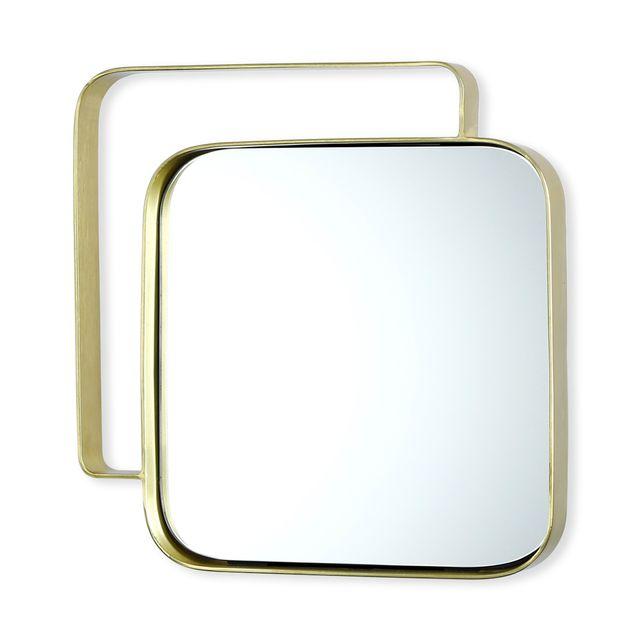 Bruno Evrard Miroir carré en métal couleur or 31cm - Verre, Métal - Or