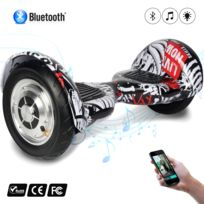 COOL AND FUN - COOL&FUN Hoverboard Bluetooth, gyropode 10 pouces Noir carbone Crane Noir carbone red-crane design