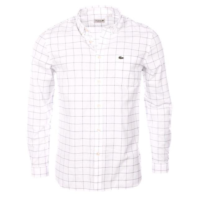 50add41d1114 Lacoste - homme - Chemise manches longues Ch3946 Blanc - pas cher ...