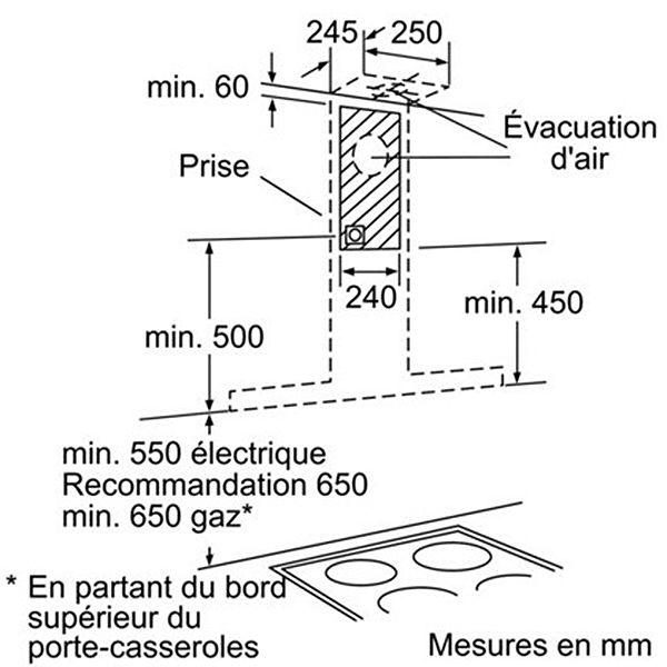Bosch - hotte décorative 60cm évacuation/recyclage 45db 710m3/h inox - dwb067a51