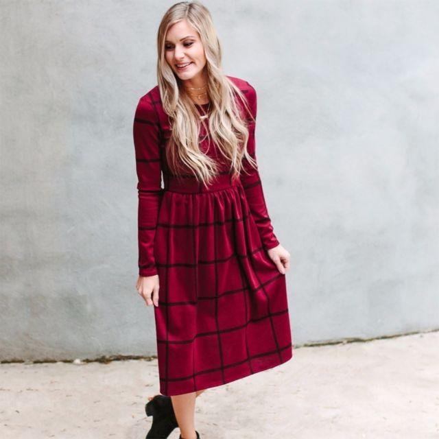 257fa4da89b Wewoo - Robe Femme rouge Automne Hiver Dames Manches Longues Hattage  Treillis Motif Lâche Longue Imprimée