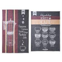 Coucke - Torchons 100% coton jacquard thème expresso - Lot de 2 Latte