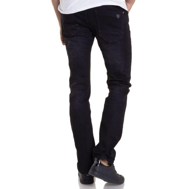 BLZ Jeans - Jean noir légèrement effet délavé pour homme coupe droite 0ad9e108e212