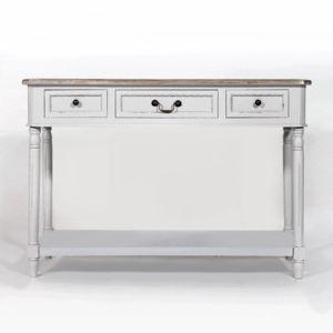 made in meubles console bois massif saint louis sl13 gris blanchi 40cm x 81cm x 115cm. Black Bedroom Furniture Sets. Home Design Ideas