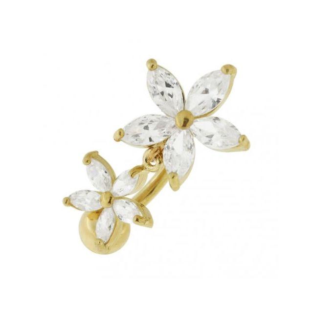 Sans Marque Bijou Pierre Précieuse Piercing de Nombril en Or Jaune Massif 14 carats Fleur Pendante en Zircons Cubique Cz Bijoux De C