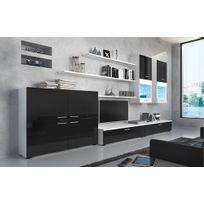 Comfort - Home Innovation - Meuble de télévision, Meuble de Salon avec illumination Leds, Noir Laqué et Blanc Mate, Dimensions : 300 x 189 x 42 cm de profondeur