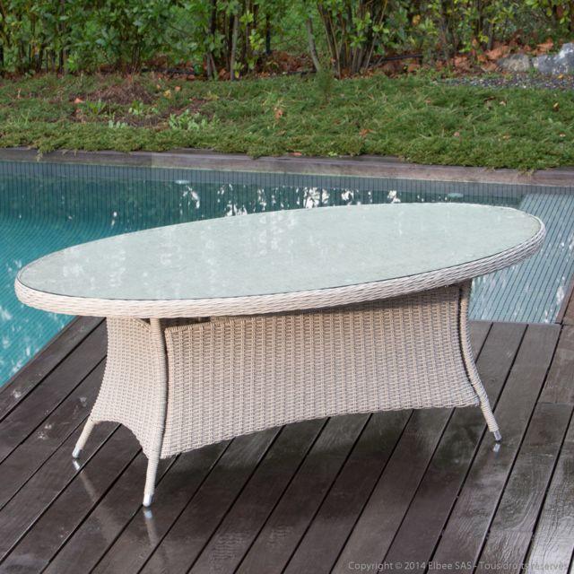 Ermanno G - Table de jardin ovale Résine tressée ronde ...