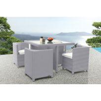 Miliboo - Mobilier de jardin résine tressée table et chaises gris Grecques