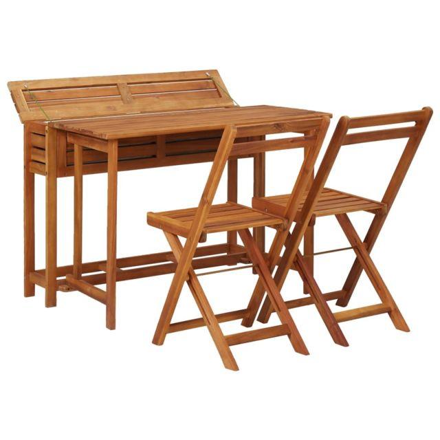 Icaverne - Salons de jardin collection Table de balcon avec 2 chaises de bistro Bois d'acacia massif