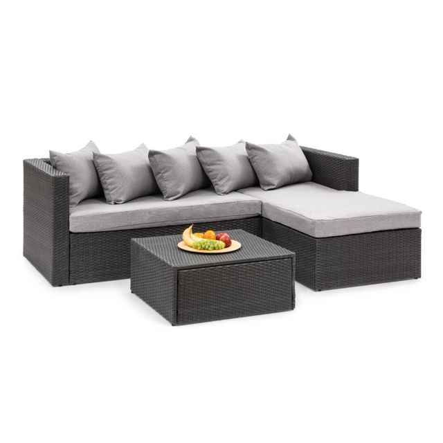 BLUMFELDT Theia Lounge Salon de jardin complet polyrotin noir & gris clair