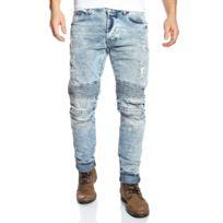 Redbridge - Jean biker homme coupe straight bleu clair