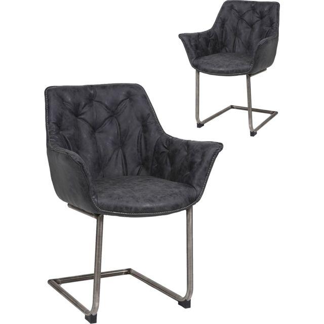 Chaises Comforium Avec Vintage Lot Piètement 2 En Noir De Pu 34SRLc5jAq
