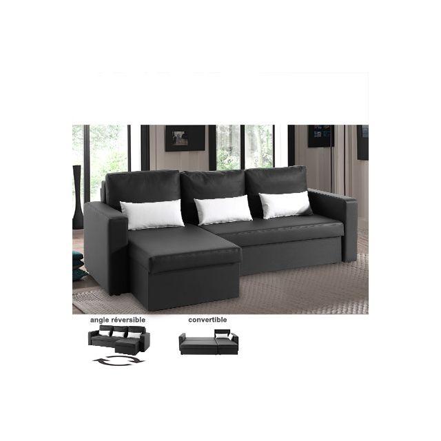 Canapé d'angle réversible convertible noir Romario