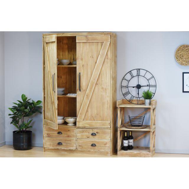 Dendro Armoire casiers bois massif effet bois vieilli industriel 6 casiers 4 tiroirs poignées métal