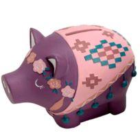 Amadeus - Petite tirelire cochon couronne de Fleurs rose