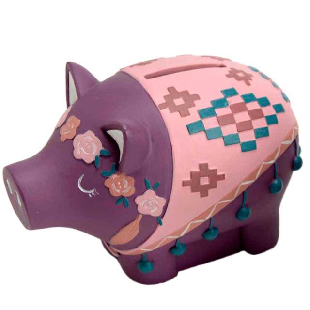 Amadeus Petite tirelire cochon couronne de Fleurs rose