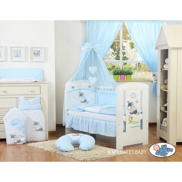 Lit et parure de lit bébé âne bleu ciel de lit coton 120 60
