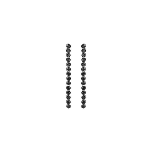 1001bijoux boucles doreille tige argent rhodié pendantes pierres noires serties longues