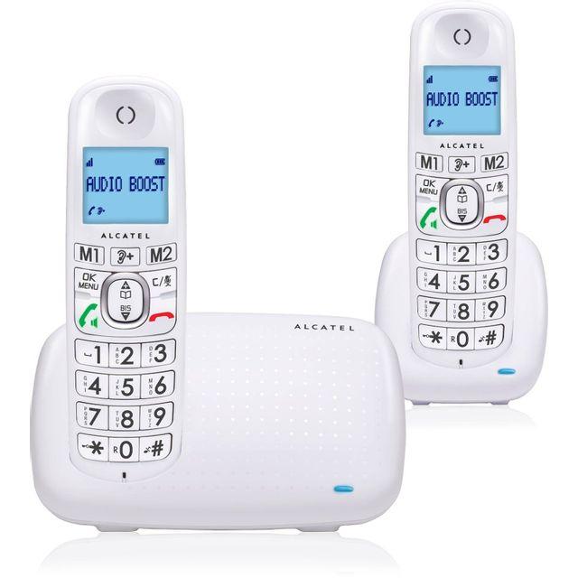 ALCATEL Téléphone Fixe Sans fil avec répondeur - XL 385 Voice - Duo Blanc ¦ La fonction répondeur du XL385 Voice simple à utiliser: ¦ Des touches d'accès sur la base ¦ Un compteur pour être informé de l'arriv&