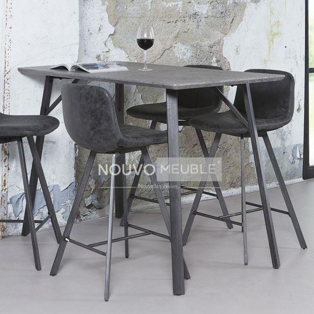 Nouvomeuble Table bar effet béton Woodland 2