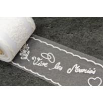 1001DECOTABLE - Rouleau de Tulle floqué blanc Vive les mariés X 10mètres Lot de 2