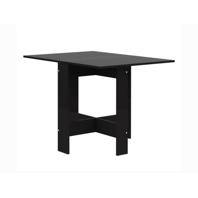Table A Manger Pliante En Melamine Noir Papillon