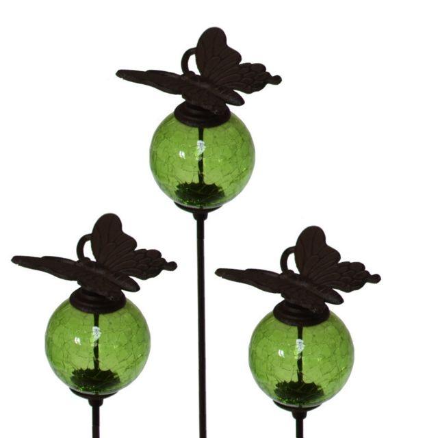 L'ORIGINALE Deco 3 Tuteurs Pic Tige Porte Plante Fleur de Jardin Verte Papillon Marron 117 cm