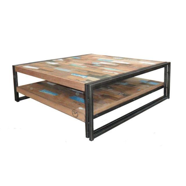 Tousmesmeubles Table basse en bois carrée 100 cm - Industry