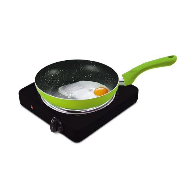 Pem Plaque de cuisson électrique simple 1500W + Set de 3 poêles Vert