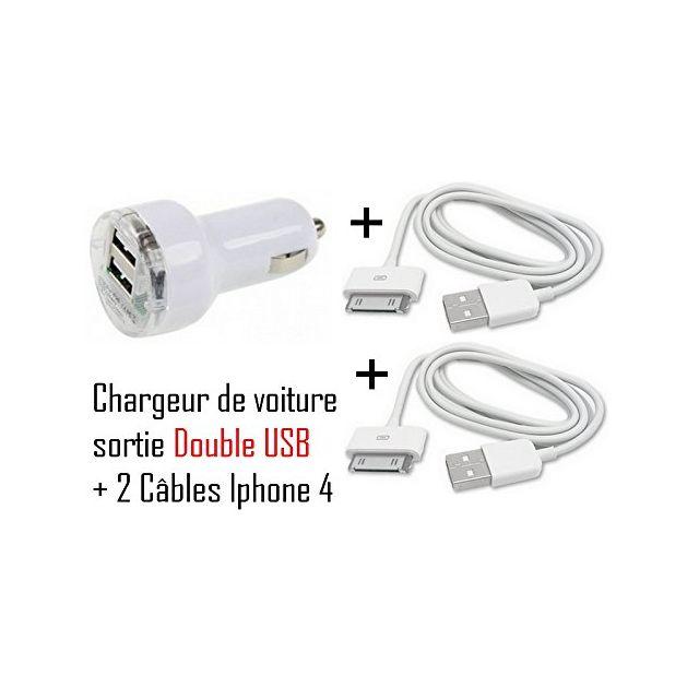 Cabling - Chargeur Voiture double Usb + 2 câbles Usb Pour Apple iPhone iPod Nano Touch Mp3 Mp4 , Iphone 3, Iphone 3GS, Iphone 4 Chargeur secteur Usb pour Apple iPhone iPod Nano Touch Mp3 Mp4 , Ipho