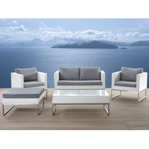 beliani salon de jardin acier inox et rotin blanc coussins gris crema pas cher achat. Black Bedroom Furniture Sets. Home Design Ideas