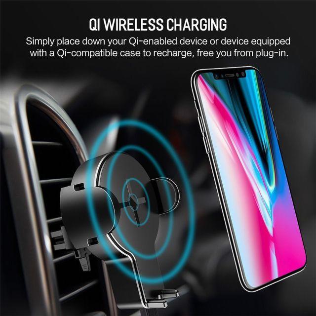 Chargeur Batterie Sans Fil Qi 5W Support Grille d'Aération