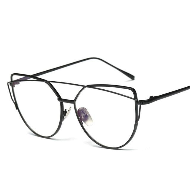 ... Wewoo - Lunettes verre blanc noir Femmes cadre en métal sans ordonnance lunettes  lunettes ... 5e0d7c7cd010