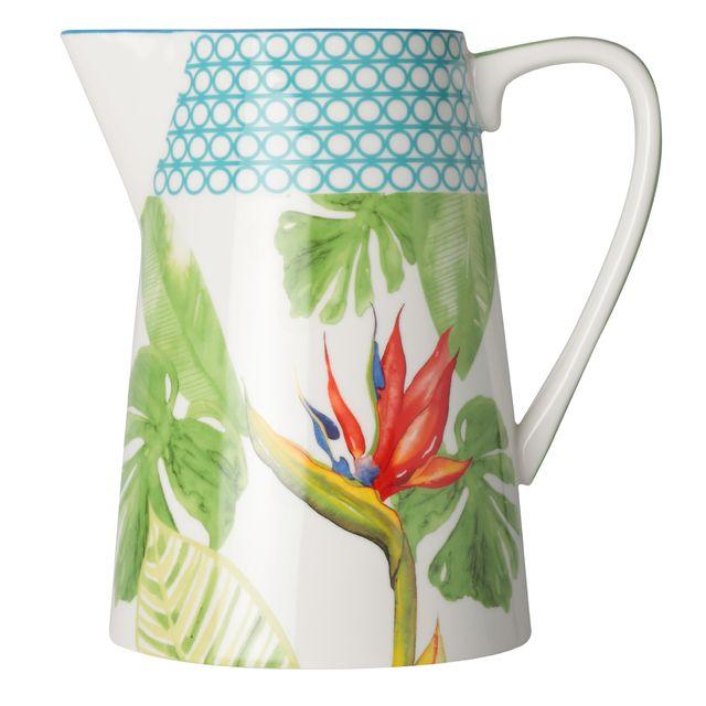 Bruno Evrard - Pichet en porcelaine décor tropical 3,5L - Porcelaine - Multicouleurs