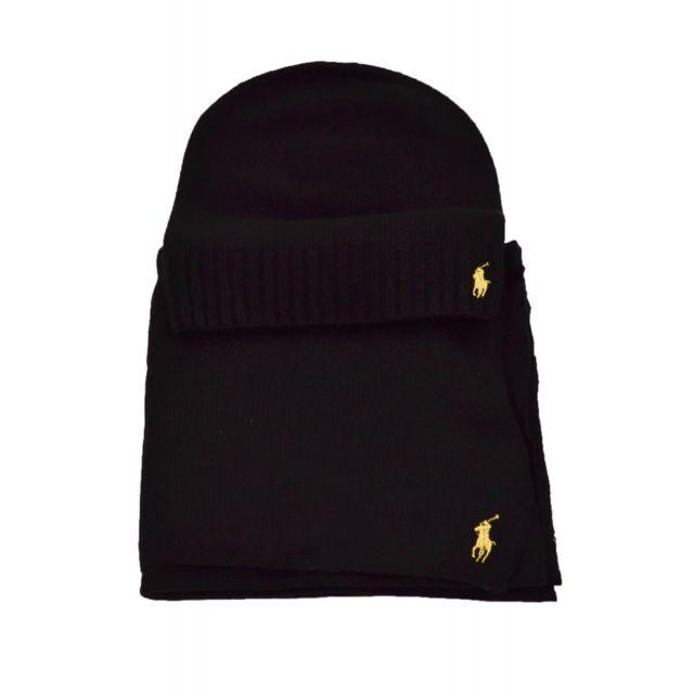 ab34e436b1 Ralph Lauren - Coffret écharpe/bonnet noir pour femme - pas cher Achat /  Vente Echarpes, foulards - RueDuCommerce