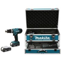 Makita - Perceuse sans fil à percussion Hp457DWEX4 18V Li-Ion 1.3Ah - 2 batteries + coffret alu + kit d'accessoires