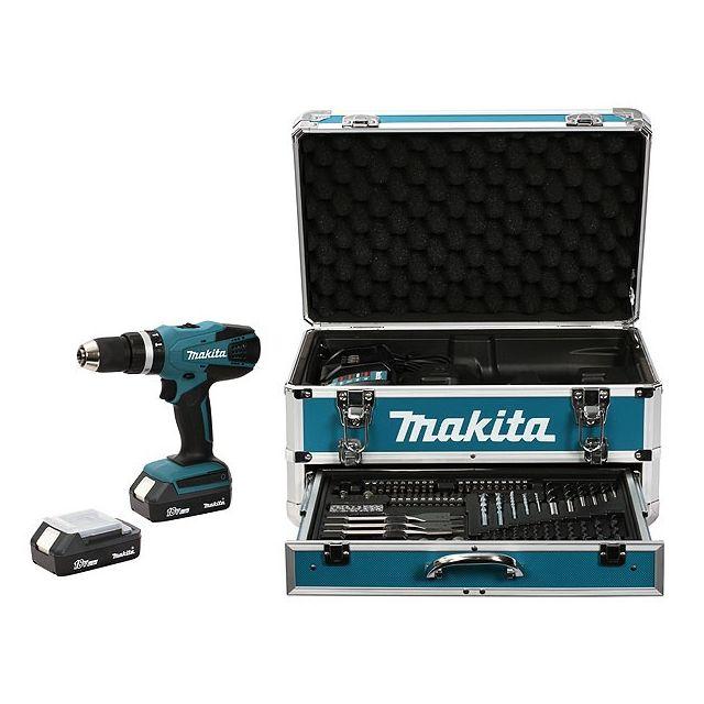 Makita - Perceuse sans fil à percussion Hp457DWEX4 18V Li-Ion 1.3Ah - 2 batteries + coffret alu + kit d'accessoires