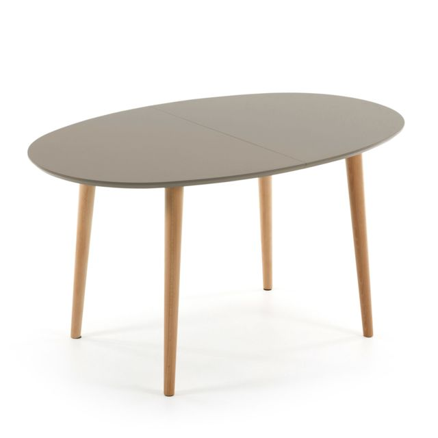 Kavehome Table Oqui extensible ovale 140-220 cm, naturel et marron