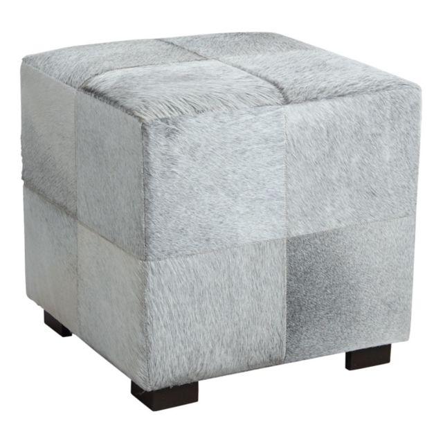 aubry gaspard pouf cube en peau de vache grise pas cher achat vente poufs rueducommerce. Black Bedroom Furniture Sets. Home Design Ideas