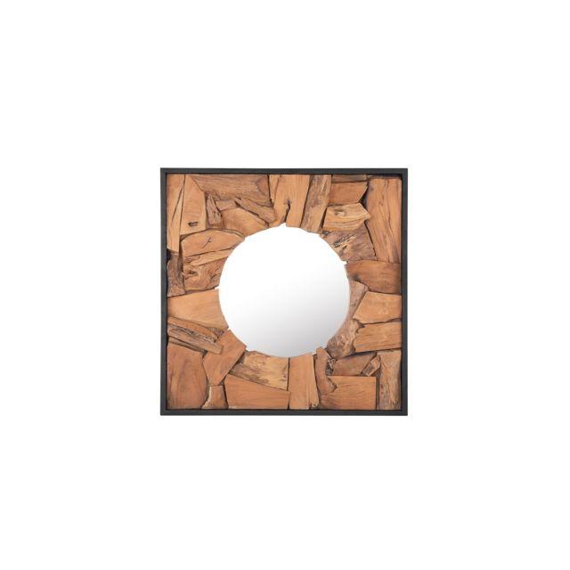 BELIANI Miroir mural 70 x 70 cm en bois clair YECORA - marron clair
