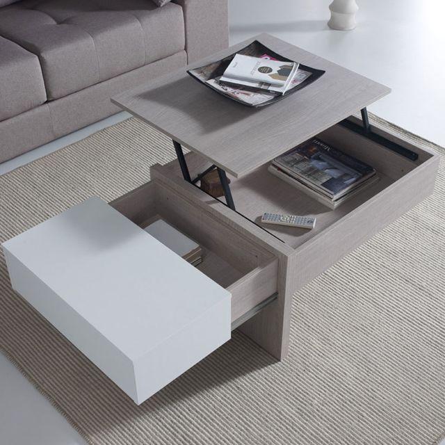 Table Basse Modulable Moderne Couleur Bois Et Blanc Sybille
