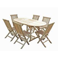 C&L Jardin - Ensemble de jardin en teck Solo 6 chaises