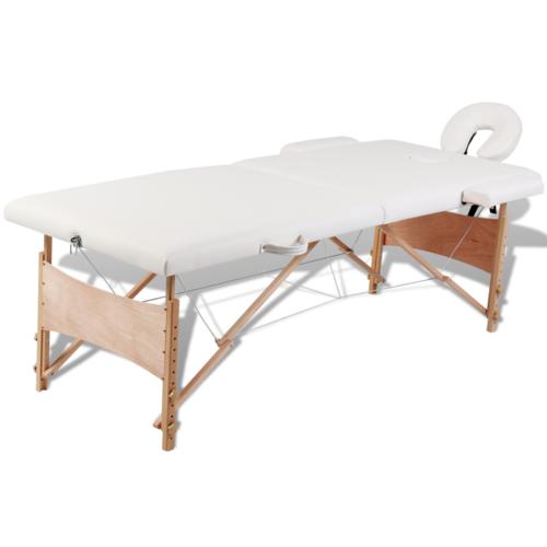 rocambolesk superbe table de massage pliante 2 zones cr me cadre en bois neuf pas cher achat. Black Bedroom Furniture Sets. Home Design Ideas