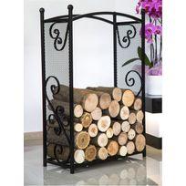 Farm-mdlt - Porte bûches rectangulaire en acier noir 90x60x25 cm