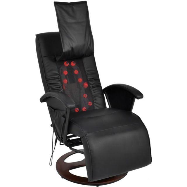 Helloshop26 Fauteuil de massage confort relaxant massant détente shiatsu demi pu noir 1702030