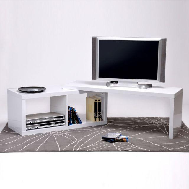 Meuble tv bas pivotant en bois laqu longueur 120 cm sandy pas cher achat vente meubles tv - Meuble tv en longueur ...
