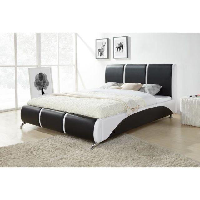 aucune torino lit adulte 160x200 cm sommier noir et blanc pas cher achat vente. Black Bedroom Furniture Sets. Home Design Ideas