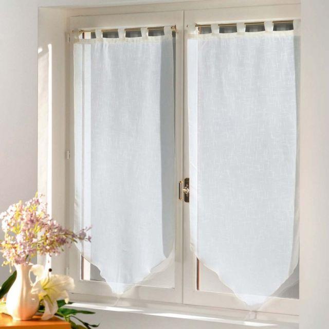 paris prix paire de voilages luminea 45x160cm blanc pas cher achat vente rideaux. Black Bedroom Furniture Sets. Home Design Ideas