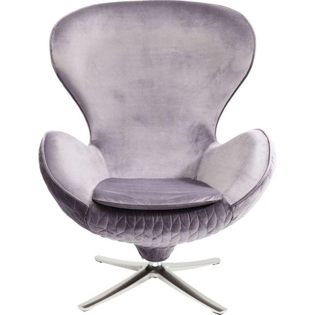 Karedesign Fauteuil pivotant Lounge Leaf gris Kare Design